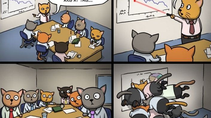 A mildly humorous cartoon which include cats in a business meeting distracted by a cat point a laser pointer.